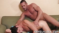 Daddy gently chokes stepson and drills his tight love hole