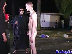 Teen stud assfucking at hazing outdoors