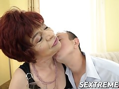 Lusty granny Donatella loves riding a horny dudes hard cock
