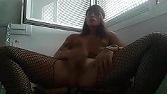 Tygra in pantyhose strokes Her hard clit.