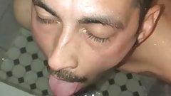 Uncut Latino chub pisses on twink