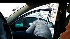 Cougar sucks dick in car