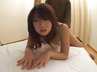 Hairy big butt Japanese girl rides and does doggy