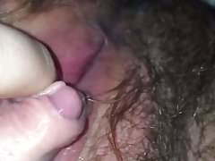 Hairy FTM plays with HUGE clit (first ever!)