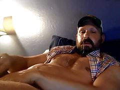 Bearded Trucker Self Facial Jerk Off & Cum