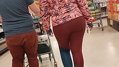 Red leggings candid walking
