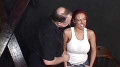 Big tits redhead auditioning for a BDSM scene