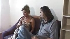 Blonde milf fuck on couch