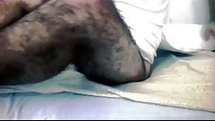 Hairy legs and pubes wank on cam