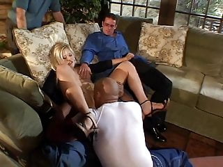 Big black guy plows sexy blonde on couch in front of her husband