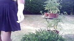outdoor in blue splitted skirt