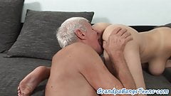 Hugetits beauty sucking seniors cock