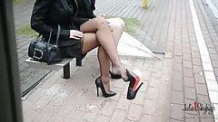 2 lesbian sluts busstop 14cm high heels upskirt & stockings