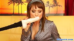 Solo babe cum drenched while doggystyled