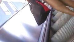 Upskirt Escalator 21 - Black Milf Wearing Long Black Panty