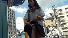 Barely legal Japanese plays with her pussy after school