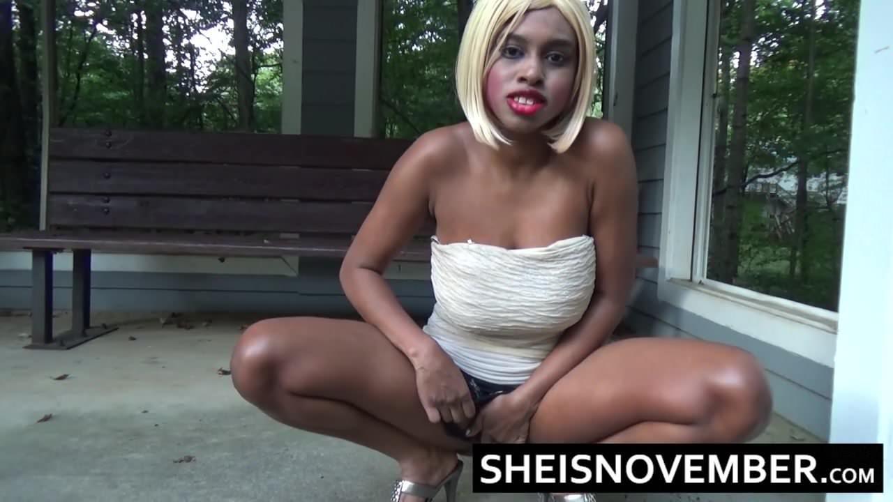 Pissing Ebony Girl Msnovember Squatting Peeing Public-4107