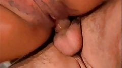 Horny Latina chick gets covered in cum after taking on four cocks outdoors