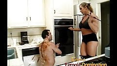 Angry dominatrix with big muscles hurts her husband really