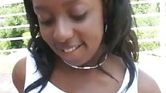 Busty ebony plays with a small cock