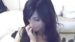 young brunette on webcam