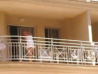 Women Cleaning Balcony No Panties Upskirt