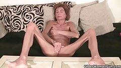 Skinny grandma rubs her tiny pussy hole