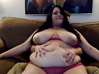 Lucky Guy Plays with Sexy BBW Belly. Very Soft!!!!!