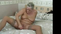 Short hairy blonde mature and her pink cock
