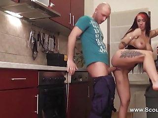 German Amateur get hard anal fucked by repairman
