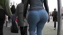 Candid bubble in jeans