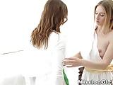 Hot Mormon babe Melody licks her sexy girlfriend Jane