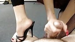 Handjob in fishnet dress with high heels and red long nails