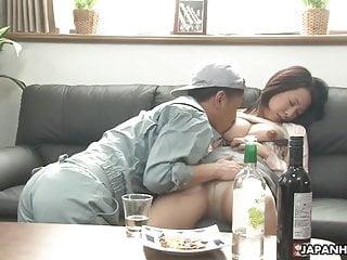 Japanese brunette slut, Asuka is fucking a shy handyman, unc