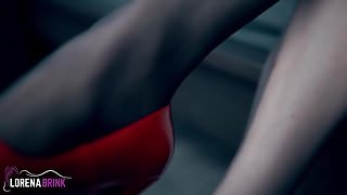 Red High Heel Peep Toe Shoes and Pantyhose