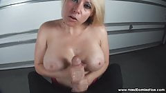 verbal humiliation of small penis by busty blonde milf