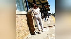 Long island cutie waiting for the train Nice ass tight pants