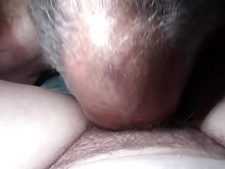 Cleaning up her hairy cum filled pussy.