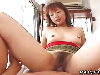 Skinny Asian gets her hairy pussy fucked hard