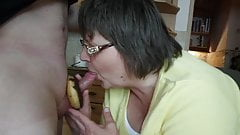 Nina blows the cock with donut