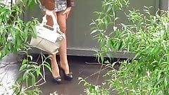 Candid Street - Russian Slut in Tan Pantyhose Part2