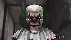 Evil clown fucks a horny schoolgirl in an abandoned hospital