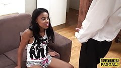 Petite ebony sub sprayed with maledoms cum