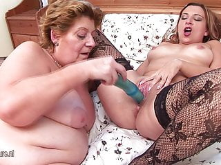 Fat lesbian fucked by young girl