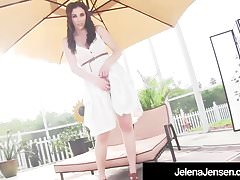 Busty Brunette Jelena Jensen Cums After Buffing her Wet Muff