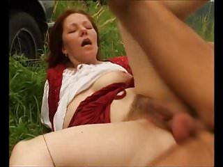 Hairy mature Dana fucked outdoors
