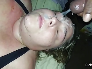 White BBW Cum Slut MILF Gets Huge Load Of Cum On Her Face