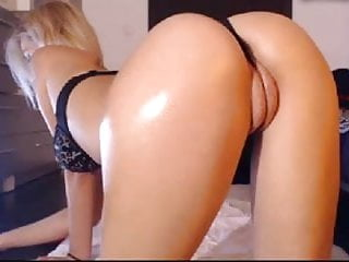 Blond big round ass and fat - puffy pussy lips