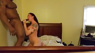 Tatted Chick Takes Black Cock