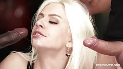 Jessie Volt Gets a Creampie and Facial in a Threeway
